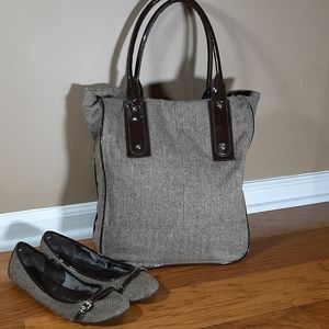 Brown Tweed Tote with match ballet flats
